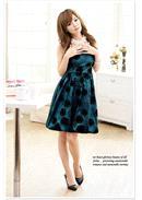 扇子花织绒锦纶灯笼礼服裙 (蓝绿色)