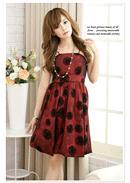 扇子花织绒锦纶灯笼礼服裙 (红色)