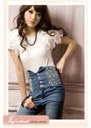 时尚流行高腰牛仔裤 (蓝色)