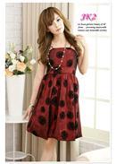 扇子织绒变色色丁灯笼礼服裙(红色)