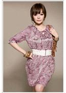 典雅诱惑◆碎花穿绳荷叶领连身裙(紫色)