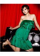 小尺码~绚烂情调◆蝴蝶结缀饰缎面荷叶小洋装(绿色)