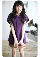 大尺码~ 帽子交叉领纯棉上衣 (紫色)