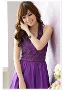 大尺码~花网V型挂颈灯笼裙(紫色)