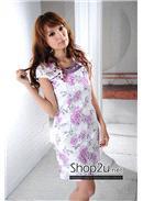 单侧假纽扣领口绣花装饰改良旗袍 (紫色)
