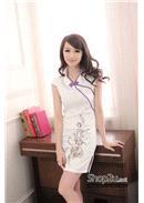 绣珠片线条时尚改良旗袍 (紫色)