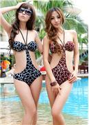 1件式性感豹纹露腰连体泳装(2色可选)