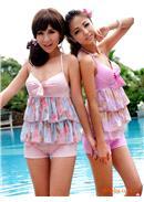 2件式粉嫩色系碎花蛋糕上衣平角裤泳装(2色可选)