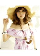 美人憧憬◆一字领蕾丝边荷叶碎花上衣(紫粉)