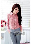 大尺码~OL气质女装荷叶边衬衫(红色)