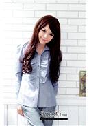 大尺码~OL气质女装荷叶边衬衫(蓝色)