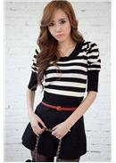 条纹泡泡袖针织上衣(黑白)