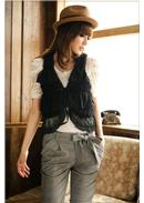 芭比首选◆层次蕾丝毛毛马甲外套(黑色)