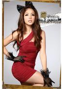 Extra Large~Crystal Hemp Dinner Dress (Red)