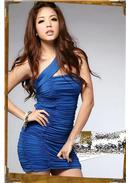 诱人新品单肩带水晶棉连身裙(蓝色)