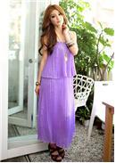 夏戈纳双层压折长款连身裙(紫色)
