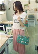 甜美珍珠蝴蝶結手提斜背包(绿色)