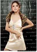 小尺码~菱形宝石◆V领露背连身裙(杏色)