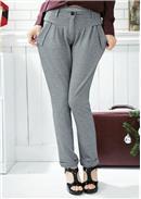 大尺码~个性休闲显瘦修身哈伦裤(灰色)