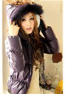 [东京著衣]豹纹皮草连帽羽绒外套(紫色)