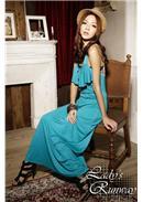 波西米亚荷叶装饰钩花沙滩长裙(蓝色)