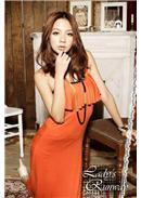 波西米亚荷叶装饰钩花沙滩长裙(橘色)