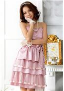 大尺码~高贵气质吊带层层蛋糕连身裙(浅紫)