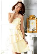 大尺码~优雅荷叶吊带礼服连身裙(香槟)
