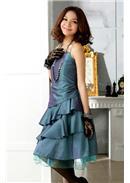 大尺码~倾城美色网纱吊带连身裙(蓝绿)