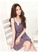 [东京著衣]织花领无袖雪纺连衣裙(紫色)