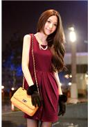 [Tokyo Fashion]Cotton Dress(Dark Red)