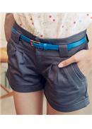 素色打褶造型夏季西装短裤(灰色)