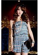 小吊带平口格子涂鸦连身裤(蓝色)