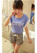 镂空钩花花边短袖棉T恤(蓝色)
