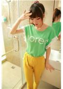 镂空钩花花边短袖棉T恤(绿色)