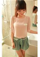 波浪边拼接百褶裙式短裤(绿色)