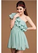 梦幻逸品◆压折荷叶层次雪纺单肩连身裙(浅蓝)