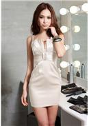 立體貝殼扇型美胸寶石禮服裙(米白)