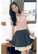 削肩感蕾丝花领片两件式长款衬衫(粉色)