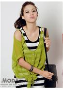 2pcs Chiffon Blouse(Mustard Green)