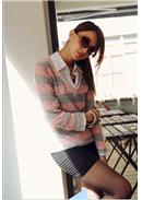 大尺码~翻领条纹针织假两件衬衫(粉色)