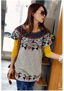 Knitted Short Sleeve Blouse(Grey)
