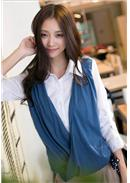 Extra Large~Fake 2pcs Cotton Top(Blue)