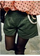 松紧腰蕾丝装点口袋短裤(军绿)