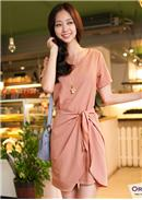 Cotton OL Dress(Pink)