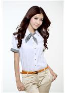 [东京著衣]条纹绑结衬衫(白色)