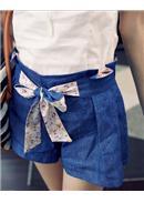 美丽印花绑带压褶牛仔裙裤(牛蓝)