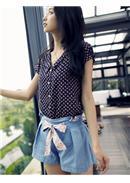 美丽印花绑带压褶牛仔裙裤(浅蓝)