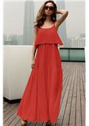 出众绝美◆荷叶压折细肩加长裙(红色)