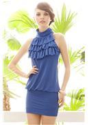 迷人魅力◆荷叶层次领包臀连身裙(蓝色)
